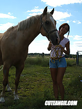 Horse-loving teen Cute Angie teasing with her slim sexy body